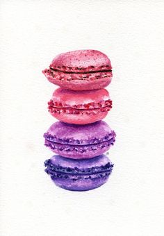 ORIGINAL Painting - Macarons! (Sweet Food Watercolors Wall Art, Still Life) A5 on Etsy, $37.64 CAD
