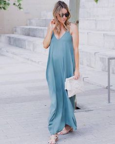 Perfect maternity wedding outfit with a light blue maxi dress and stylish flipflops and clutch Stylish Maternity, Maternity Wear, Maternity Fashion, Maternity Dresses, Maternity Style, Maternity Clothing, Maternity Clothes Spring, Maternity Wedding, Cozy Winter Outfits
