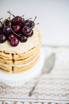 Brown Butter Maple Waffle Cake with Sorghum Meringue Buttercream by Beth Kirby | {local milk}