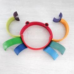 Rainbow Activities, Infant Activities, Activities For Kids, Diy Montessori Toys, Grimm's Toys, Grimms Rainbow, Rainbow Blocks, Wooden Rainbow, Handmade Wooden Toys
