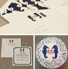 Brilliant use of this couple's custom #seahorse #wedding #monogram. Used on their save the date, wedding invitation custom stamp, and their CAKE! Great example of #branding the entire #wedding I Custom by Nico and Lala