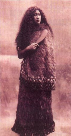 Maori Princess, NZ 1921. She is wearing the traditional feathered cloak of people of high rank.