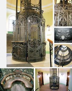 antique elevator..this has to be the coolest elevator for a home to I've ever seen