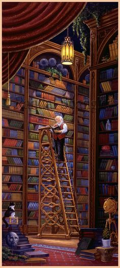 Painted by Randal Spangler, the Quiet Contemplation wall mural from Murals Your Way will add a distinctive touch to any room. I Love Books, Books To Read, Murals Your Way, Art Manga, Illustration Art, Illustrations, World Of Books, Library Books, Library Ladder