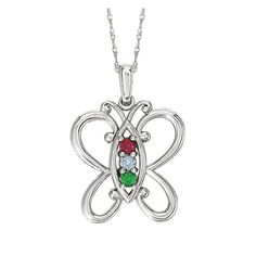 1 to 5 Birthstone Personalized Butterfly Mother's Pendant Necklace – Sparkle