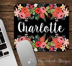 Mouse Pad-Personalizaed souris Mouse Pad personnalisée Pad-Bureau souris accessoires-Floral Pad-aquarelle fleur souris Pad-Bureau Decor