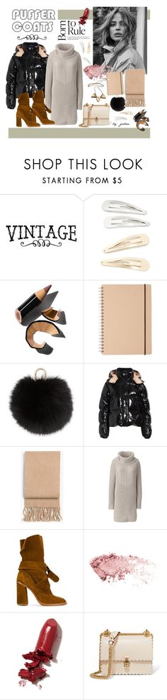 """Stay Warm: Puffer Coats"" by gabree ❤ liked on Polyvore featuring Kitsch, Bobbi Brown Cosmetics, Yves Salomon, Moncler, rag & bone, Lands' End, Casadei, LAQA & Co. and Fendi"