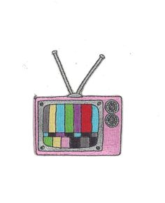 Tube TV Iron-On Patch Pastel Goth Indie Hipster by PsychoSwami
