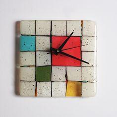 Tribeca: Red: Nina Cambron: Art Glass Clock | Artful Home