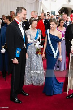 (L-R) King Felipe VI of Spain, Princess Anne, Princess Royal and Queen Letizia of Spain attend the Lord Mayor's Banquet at the Guildhall during a State visit by the King and Queen of Spain on July 13, 2017 in London, England.  This is the first state visit by the current King Felipe and Queen Letizia, the last being in 1986 with King Juan Carlos and Queen Sofia.  (Photo by Jeff Spicer/Getty Images)