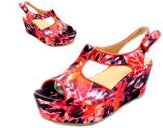Womens dark red flowery flatform high heel wedge open toe sandals NEW | eBay
