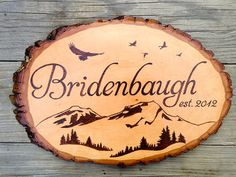 Mountains Birds and Forest Family Name Wood Burned Sign, pyrography, housewarming or wedding gift