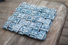 Cool way to re-purpose old jeans. Simple Things Notebook: Making: Woven Jean Seam Coasters