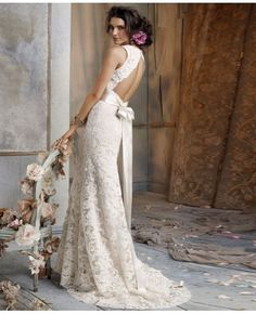 Elegant Sheath V-Neck Sweep Train Lace Wedding Dress #weddingdress
