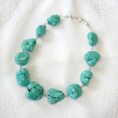 Chunky Turquoise Necklace Chunky Turquoise Beaded Necklace Handmade. $68.00, via Etsy.