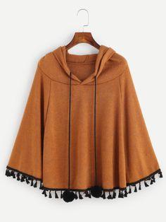 Khaki Fringe Hem Drawstring Hooded Pom Pom Poncho Coat