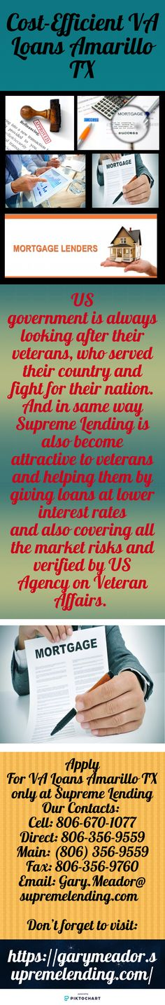At Supreme Lending, Best VA Loans are issued by qualified lenders. These loans designed to offer long-team financing. Contact for Cost-Efficient VA Loans Amarillo TX and visit our website: https://garymeador.supremelending.com/