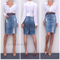 Vince shirt, Zara skirt, Lanvin belt and Louboutin Pigalle Denim Skirt Outfits, Denim Outfit, Denim Pencil Skirt Outfit, Jeans Rock, Blue Jeans, Denim Fashion, Fashion Outfits, Womens Fashion, Style Work