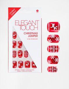Elegant Touch - Faux-ongles motif pull de Noël