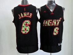 NBA jerseys Miami Heat James 6 black