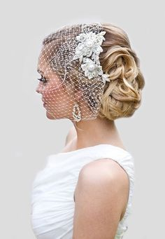 Picture of chic wavy updo with a bridal lace headpiece and a birdcage veil Vintage Veils, Vintage Wedding Hair, Wedding Hair And Makeup, Wedding Hair Accessories, Bridal Hair, Wedding Beauty, Headpiece Wedding, Wedding Veils, Bridal Headpieces