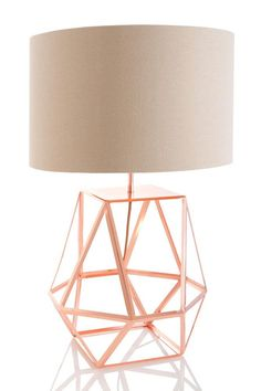 Shiraleah 'Rex' Copper Table Lamp (Rex Table Lamp, Copper), Beige Off-White (Metal) Copper Table Lamp, Wire Table, Copper Lamps, Copper Lighting, Black Table Lamps, Copper Wire, Geometric Lamp, Gold Bedroom, Dot And Bo