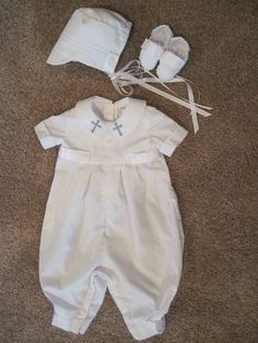 Baptism or christening outfit for baby boy by bunnyluvcreations Baby Boy Baptism Outfit, Christening Outfit, Christening Gowns, Baby Boy Outfits, Baptism Clothes, Bless The Child, Baby Dedication, Baby Couture, Heirloom Sewing