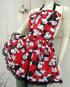 Mickey Mouse Apron Retro Ruffle Dinner Party Hostess Reconstruction