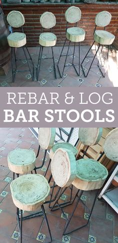 Rustic bar stools perfect for patio seating.