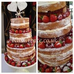 Naked wedding cake, Un-iced wedding cake, Tiered Victoria sponge wedding cake, Buttercream wedding cake, Southsea, Hampshire, Portsmouth, UK...