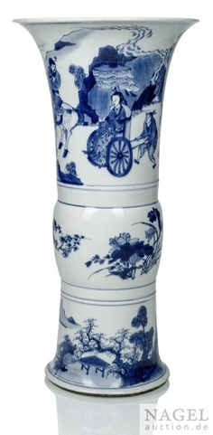 A blue and white vase, China, Kangxi period