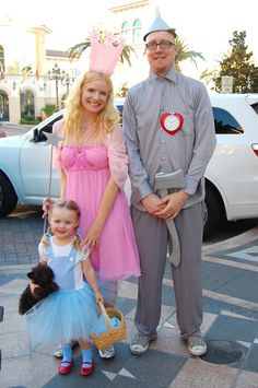 DIY Halloween costumes from my past - Dorothy, Glinda, & the Tin Man from The Wizard of Oz