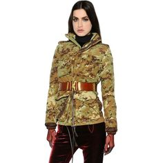 Dsquared2 Women Camo Canvas Jacket & Quilted Jacket (17 095 SEK) ❤ liked on Polyvore featuring outerwear, jackets, military green, zipper jacket, high collar jacket, camo print jacket, camouflage jacket and army green jacket