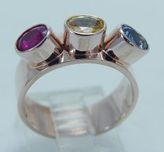 Yellow & Blue Sapphires w Ruby in High Set Band, 14K Rose Gold