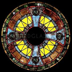 Antique Stained Glass Windows | Antique Cross Rose Window: Non-religious Stained Glass Window 2739