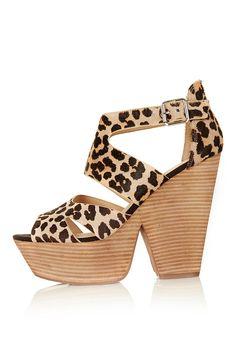 Lanie leather pony effect lepoard print platforms heel
