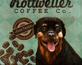 Rottweiler Coffee Co. - 12X12 Modern Vintage Giclee Print - Mixed Media - LHA-295-40