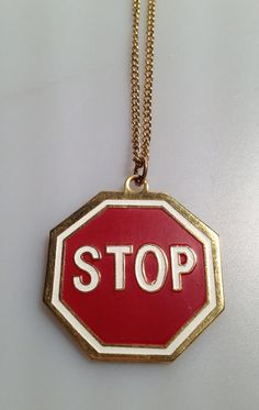 1970s Vintage STOP SIGN Necklace Gold Plate by thepopularjewelry, $24.95