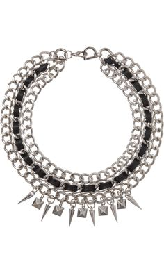 Fallon Silver Triple Chain Necklace With Leather & Spikes