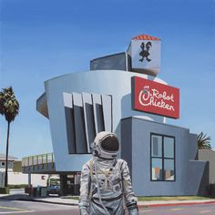 Scott Listfield paints astronauts and, sometimes, dinosaurs. Chicken Wallpaper, Chicken Painting, Out Of This World, Cosmos, Make Me Smile, Robot, Cool Pictures, Sci Fi, Drawings