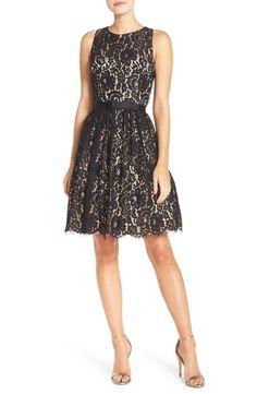 2d2b02c5d0c ELIZA J Lace Fit   Flare Dress Black Size 8  90