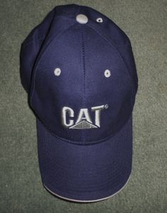 9b65902103876 Men s Blue  amp  Silver CAT CATERPILLAR Embroidered Logo Hat