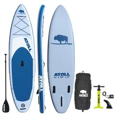 Atoll Foot Inflatable Stand Up Paddle Board Inches Thick, 32 inches Wide) ISUP, Bravo Hand Pump and 3 Piece Paddle, Travel Backpack and New Paddle Leash Included (Light Blue) Inflatable Paddle Board, Inflatable Kayak, Paddle Board Rentals, Kayak Rentals, Kayak Fishing Accessories, Canoe Accessories, Sup Stand Up Paddle, Kayak Storage, Sup Yoga