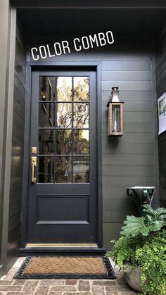 House Paint Exterior, Exterior House Colors, Exterior Design, Interior And Exterior, Black Trim Exterior House, Exterior Paint Ideas, Grey Siding House, Outdoor House Colors, Black Windows Exterior