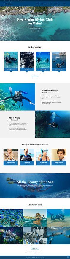 Template 62484 - Diving Club  Responsive WordPress  Theme