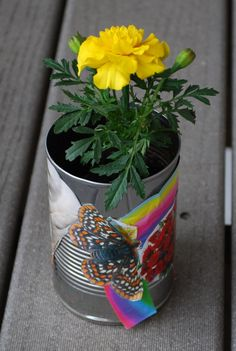 Fun DIY can flower pot