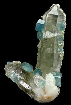 Blue Apatite Crystals on Quartz - Panasqueira Mines, Panasqueira, Covilhã, Castelo Branco District, Portugal.