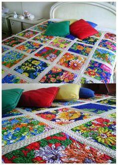 Casas Possíveis: Decoração com a cara do Brasil Blocos de patchwork com tecidos chita, manta soft e entremeios de renda !