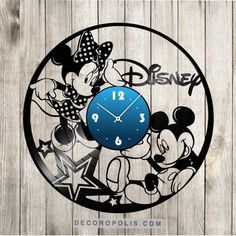 Mickey & Minnie Disney clock vinyl record image 1