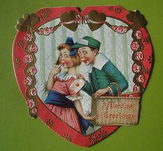 Vtg. German Valentine Card-Cute Comical Girl Gets Valentine